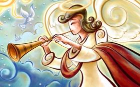 Картинка рисунок, ангел, труба, голуби, нимб