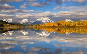 Обои осень, облака, снег, деревья, горы, озеро, Вайоминг