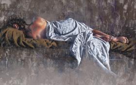 Обои девушка, волосы, спина, лежит, одеяло, живопись, Laurent Botella