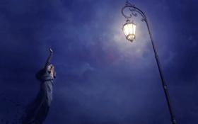 Обои ночь, светильник, статуя