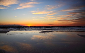 Картинка море, волны, пляж, небо, солнце, пейзаж, закат