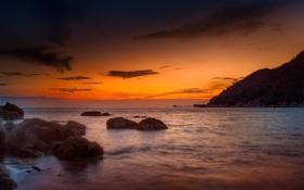 Обои пляж, скалы, рассвет, гора, Malaysia, Langkawi, Andaman Sea