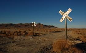 Обои железная дорога, пейзажи, рельсы, знаки, переезд