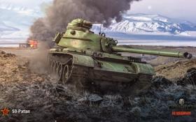Картинка пейзаж, горы, арт, танк, китайский, средний, World of Tanks