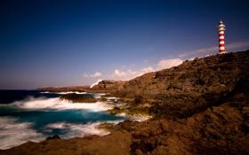 Обои океан, скалы, побережье, маяк, Канарские острова, Canary Islands, Gran Canaria