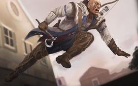 Обои оружие, прыжок, арт, мужчина, раскраска, Assassins Creed 3, Connor