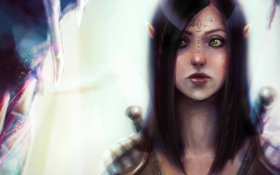 Обои девушка, арт, кулон, татуировка, эльфийка, dragon age