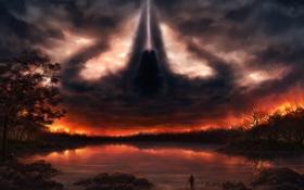 Обои закат, небо, меч, человек, Reaper of Souls, Diablo 3, капюшон