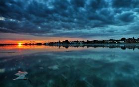 Обои пейзаж, закат, озеро