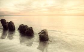 Картинка вода, природа, камни, фото, обработка, горизонт, валуны