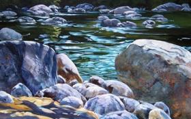 Обои вода, блики, река, ручей, камни, картина, арт