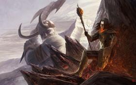 Картинка горы, оружие, скалы, арт, лава, рога, маг