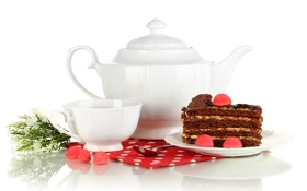 Обои чай, чайник, пирожное, салфетка