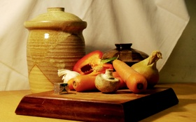 Обои фон, лук, доска, перец, морковь, чеснок, шампиньон
