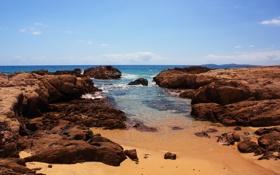 Картинка камни, мыс, скалы, небо, океан, Австралия, море