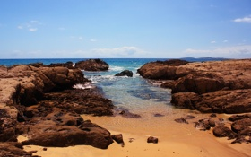Картинка песок, море, небо, камни, океан, скалы, Австралия