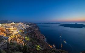 Обои море, острова, дома, корабли, вечер, Греция, Santorini