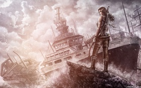 Картинка девушка, птицы, корабль, Tomb Raider, Лара Крофт, Расхитительница гробниц