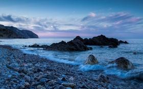 Обои море, камни, скалы, побережье, Испания, Spain, Андалусия