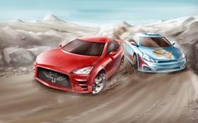 Обои авто, пейзаж, машины, спорт, драйв, гонки, форсаж