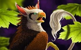 Картинка листья, существо, хвост, грифон