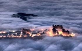 Картинка облака, ночь, город, огни, туман, вид, здания