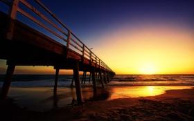 Картинка море, небо, берег, пирс, зарево