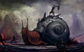 Картинка оружие, улитка, войны, арт, вопрос, wtf, by roboto kun