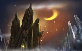 Картинка звезды, ночь, месяц, духи, арт, созвездия