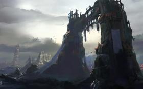Картинка облака, заброшенность, птицы, руины, город, арка, арт