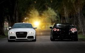 Картинка дорога, белый, деревья, Audi, чёрный, Nissan, gtr