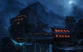 Картинка полет, горы, птицы, ночь, луна, азия, здания