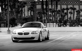 Картинка vossen wheels, black and white, bmw z4