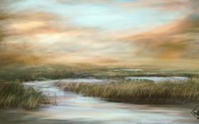 Картинка трава, вода, природа, болото, арт