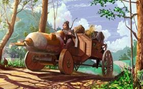 Обои девушка, транспорт, лук, лучница, арт, трактор, поездка