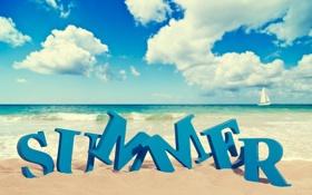 Картинка песок, море, пляж, лето, небо, облака, природа