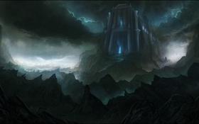 Картинка облака, горы, замок