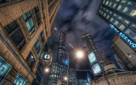 Обои Chicago, ночь, небоскрёбы, здания