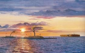 Обои волны, небо, солнце, облака, река, масло, корабли