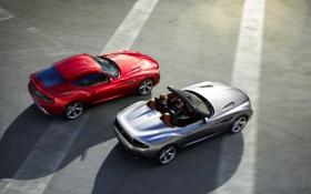 Обои Красный, BMW, Серый, Асфальт, Серебро, Вид сверху, Zagato