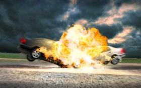Обои машины, взрыв, столкновение