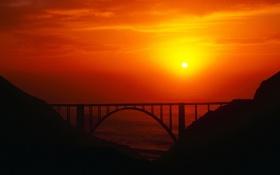 Обои закат, мост, солнце, море