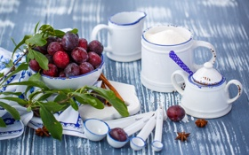 Обои посуда, корица, сливы, пряности, фрукты, сахар, Julia Khusainova