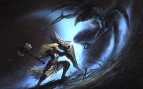 Обои девушка, молот, щит, Diablo 3, crusader, reaper of souls, Diablo 3: Reaper of Souls
