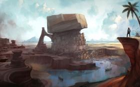 Картинка город, озеро, будущее, фантастика, скалы, человек, арт