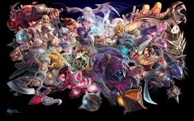 Картинка арт, league of legends, персонажи, темный фон, оружие