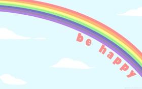 Обои цвета, облака, счастье, Радуга, happy, слова