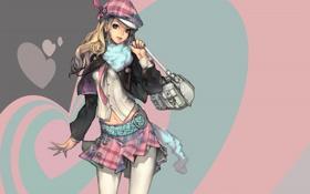 Картинка девушка, абстракция, стиль, арт, сумка, мода, берет