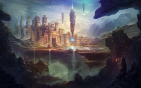 Обои пришельцы, скалы, дорога, прибытие, горы, храм