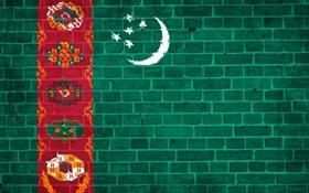 Обои Текстура, стена, звёзды, кирпичи, Туркменистан, флаг